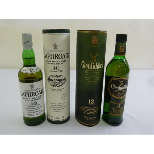 259 - Two bottles of single malt whisky to include Laphroaig 10 year old, Glenfiddich 12 year old, both in...