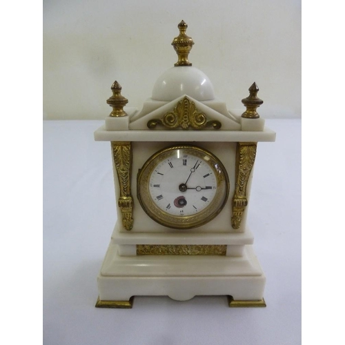 263 - A marble and gilt metal architectural mantle clock, circular enamel dial, Roman numerals, A/F...