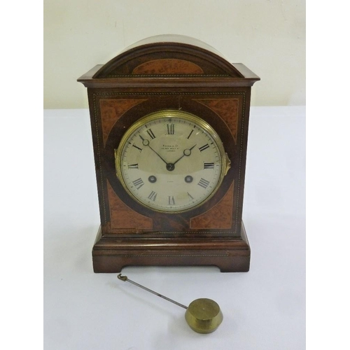 270 - Payne and Co. Edwardian inlaid bracket clock rectangular with arched top, two train movement, Roman ...