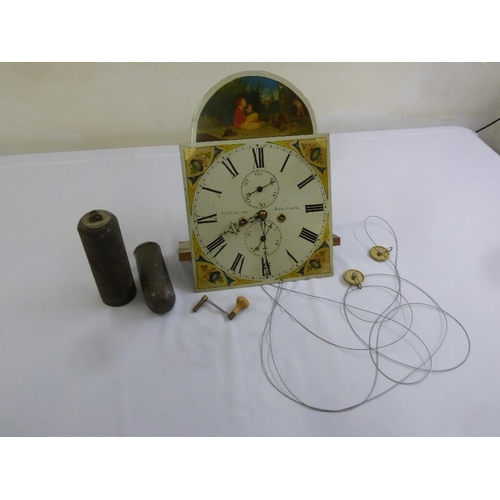 271 - J. A. Taylor clock dial and movement to include two weights, pendulum and key...