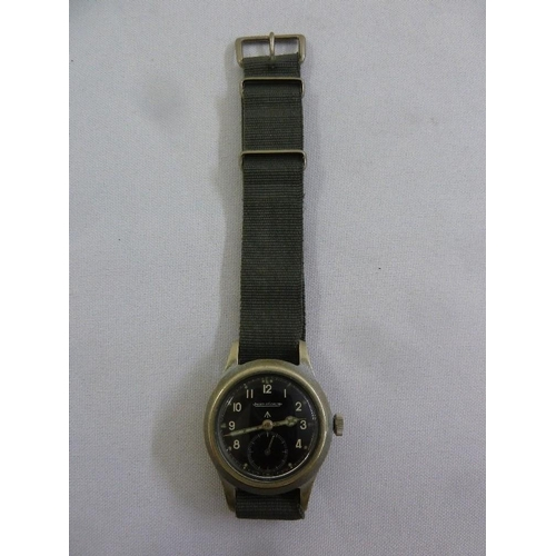 274 - Jaeger le Coultre WWII wristwatch, Arabic numerals, subsidiary seconds dial...