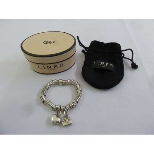 286 - Links of London silver sweetie bracelet with two charms, to include original packaging...