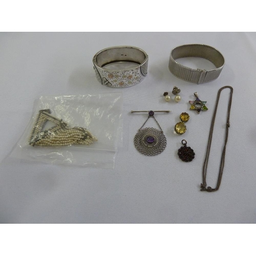 287 - A quantity of silver and costume jewellery two bracelets, a necklace, a brooch, two pendants and two...