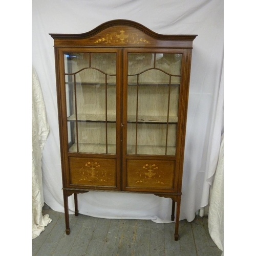 3 - An Edwardian rectangular glazed display cabinet, inlaid decoration on four tapering legs, A/F...