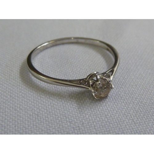 303 - 9ct white gold and diamond solitaire ring...