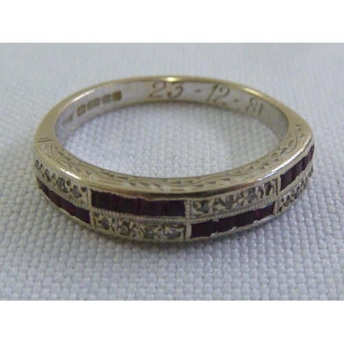 310 - 18ct ruby and diamond eternity ring, approx 3.9g...