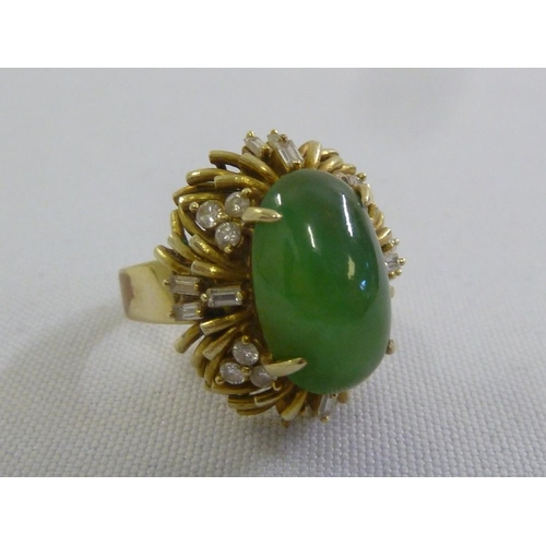 312 - 14ct yellow gold diamond and jadeite ring...