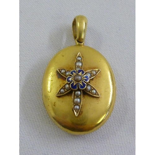 316 - 18ct yellow gold, seed pearl and enamel locket, approx 12.5g...