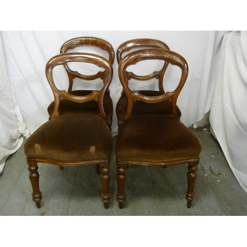 32 - Four Victorian mahogany balloon back upholstered dining chairs, one A/F...