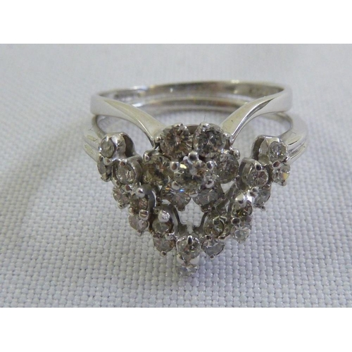 327 - 18ct white gold and diamond two part ring...