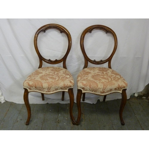 33 - A pair of mahogany balloon back upholstered chairs on cabriole legs...