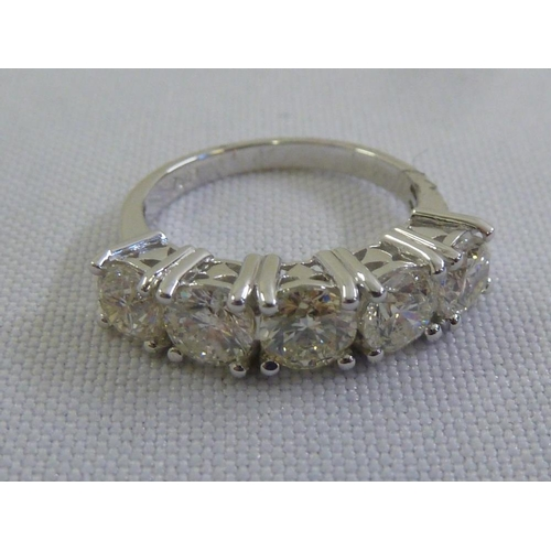 334 - 18ct white gold five stone diamond ring (diamonds approx 2.5 ct)...