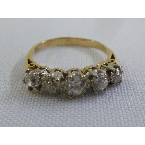 340 - 9ct white and yellow gold five stone diamond ring...