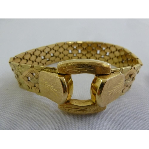 343 - 18ct yellow gold bracelet, approx 53.5g...