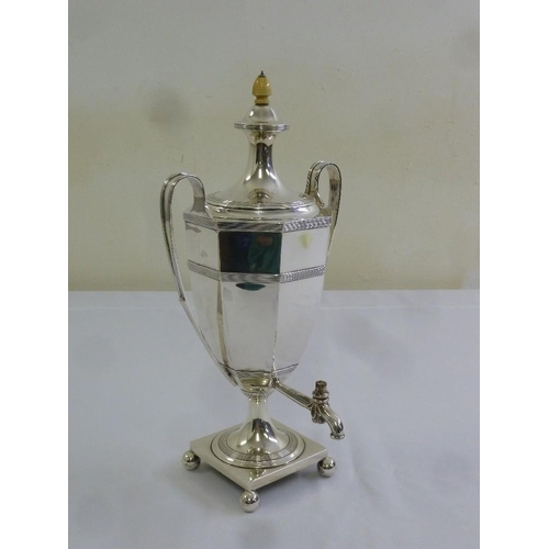 348 - A late Victorian silver hallmarked Samovar, octagonal form, looped handles on four ball feet, Sheffi...