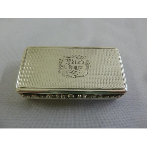 369 - A Victorian silver snuff box, rectangular, engine turned base and hinged cover, gilt interior, Birmi...