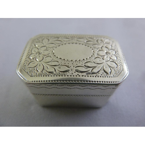 370 - A George III silver nutmeg grater, rectangular, prick engraved, hinged cover decorated with flowers ...