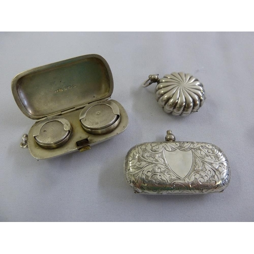 371 - Three silver sovereign holders, two rounded rectangular, one of circular fluted form...