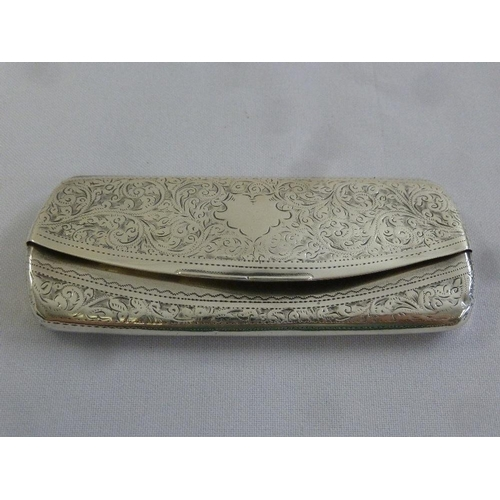372 - A silver spectacle case, rounded rectangular with leaf engraved hinged cover, London 1909...