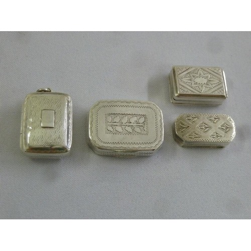 374 - Four early and mid 19th century silver vinaigrettes of shaped rectangular form...