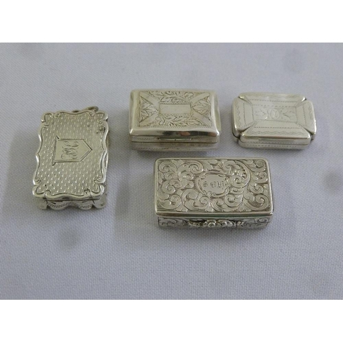 375 - Four mid to late 19th century silver vinaigrettes all of rectangular form...