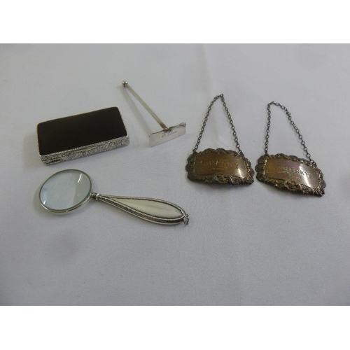 405 - A quantity of silver and white metal to include two whisky labels, a magnifying glass, a tortoiseshe...