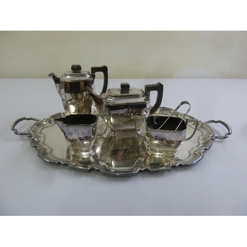 410 - A silver plated four piece teaset and an oval tray with two side handles...