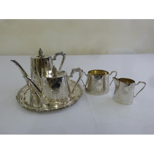 411 - A late Victorian Mappin and Webb silver plated four piece tea and coffee set and a circular salver...
