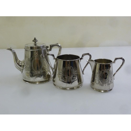 412 - Silver plated three piece teaset to include teapot, sugar bowl and milk jug...