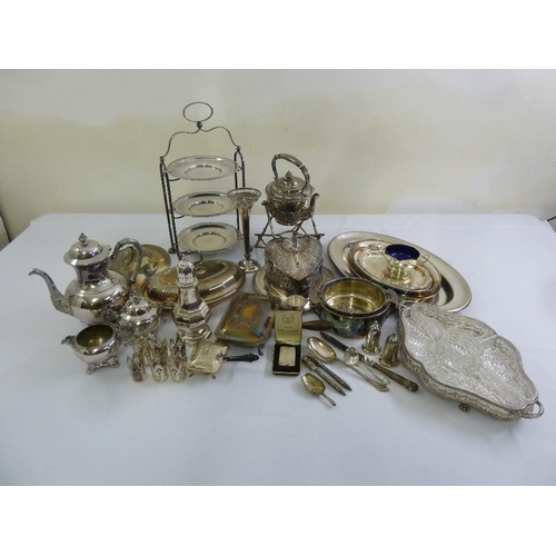 416 - A quantity of silver plate to include a plate stand, a tea kettle on stand and an hors d'oeuvre dish...