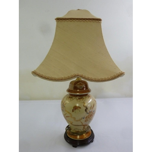 46 - A Chinese style porcelain table lamp with silk shade...