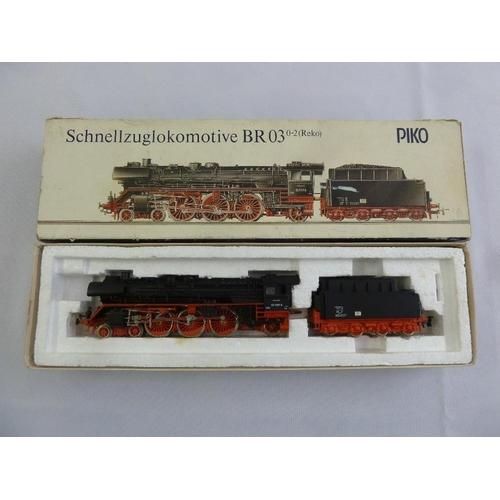 463 - Piko HO gauge BR 03 locomotive and tender, as new in original packaging...
