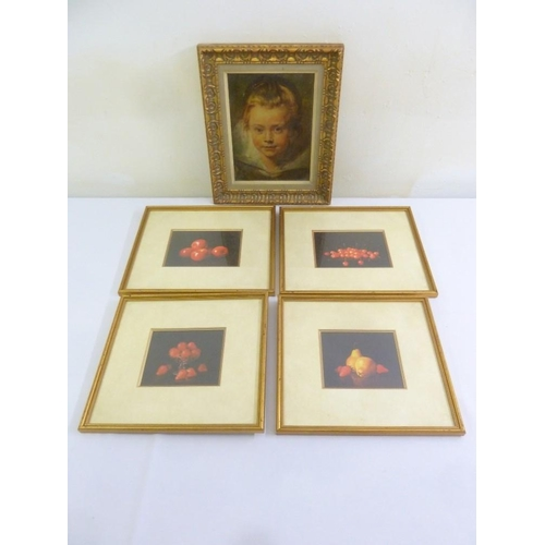 59 - A set of four still life framed prints and an oleograph of a young girl after Rubens...