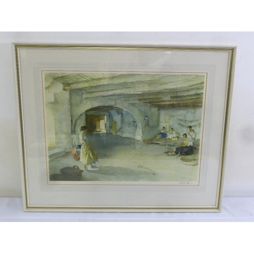 60 - Russell Flint framed and glazed lithographic print of woman in the wash house, signed bottom right, ...