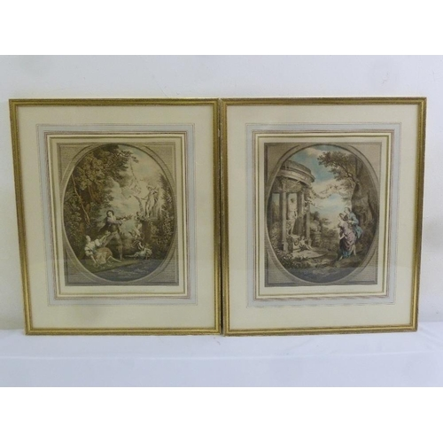 62 - A pair of French 19th century framed and glazed poly chromatic etchings of classical scene, 36 x 29c...