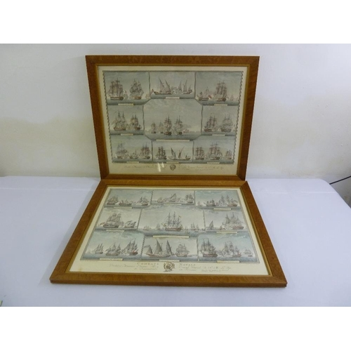 64 - A pair of framed and glazed lithographic prints of Naval Combats, 56 x 71cm...