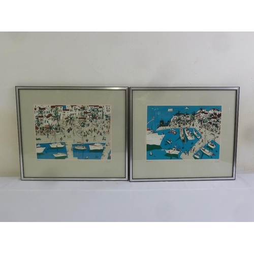 65 - A pair of framed and glazed Spanish limited edition lithographic prints of Puerto Banus, signed and ...