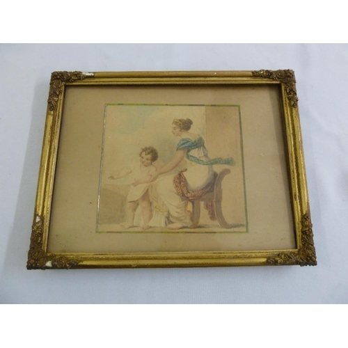 67 - An early 19th century watercolour of a mother and child in original frame, 16.5 x 17.5cm...