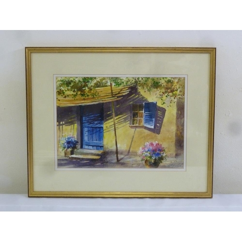 68 - George Lyles framed and glazed watercolour of a shack, signed bottom right, 25.5 x 36cm...