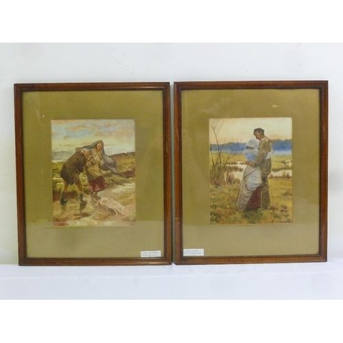 69 - S.A. Knowles two framed and glazed watercolours, The Last Match, signed bottom left and Enlisted, si...