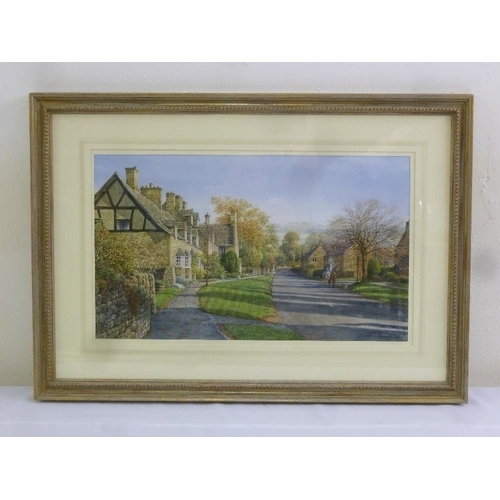 71 - Peter Hodge framed and glazed watercolour titled Early Autumn Broadway, signed bottom right, 25.5 x ...
