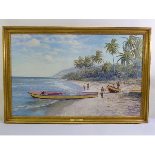 72 - Royan framed oil on canvas of a Caribbean beach scene, signed bottom right, 78 x 125cm...