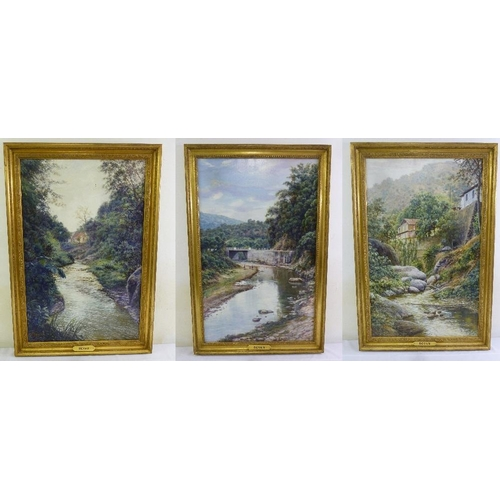 73 - Royan three framed oils on canvas of country landscapes, 90 x 59cm...