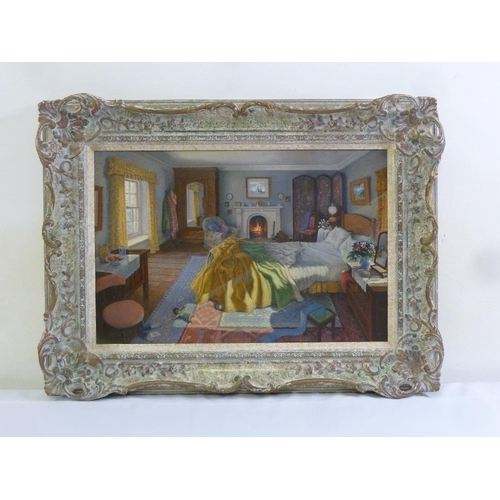 76 - Stephen J. Darbishire framed oil on board titled The First Frost, signed bottom right, 39 x 59cm...