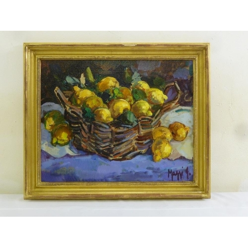 78 - Maggi oil on canvas still life of flowers, signed bottom right, 39 x 49cm...