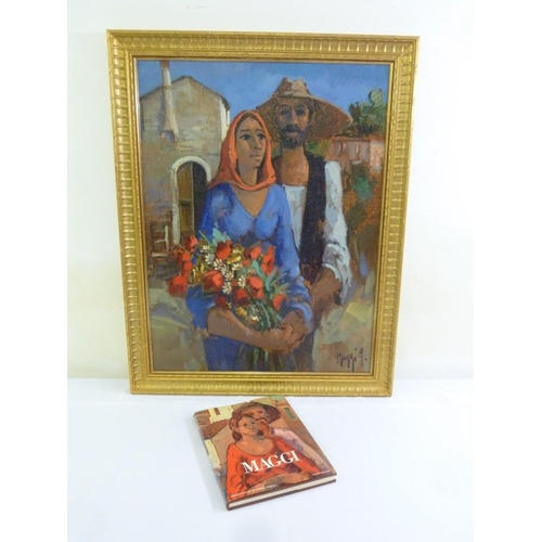 79 - Maggi oil on canvas of a farmer and wife, signed bottom right, to include coffee table book of the a...