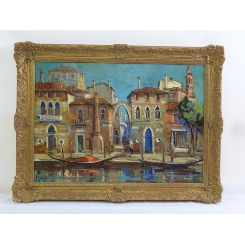 80 - Maggi oil on canvas of a Venetian waterfront scene, signed bottom left, 48 x 68cm...