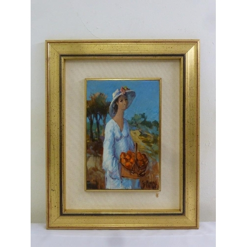 81 - Maggi oil on board of a lady holding a basket of fruit, signed bottom right, 30 x 19.5cm...