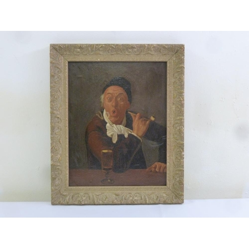 83 - A Continental framed oil on panel of a gentleman smoking a pipe, 36.5 x 29cm...