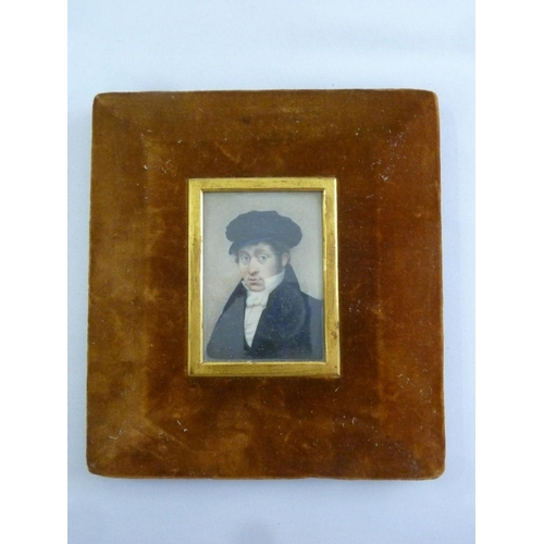 84 - A hand painted late 19th century miniature portrait of a young gentleman, 7 x 5cm...